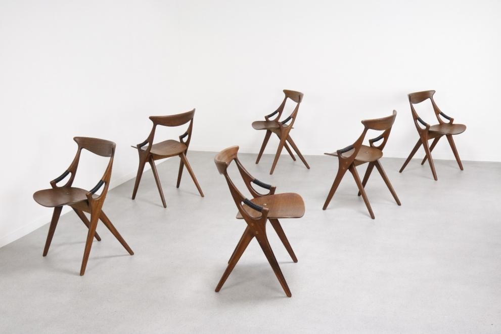 Arne Hovmand Olsen ' Model 71 ' Mogens Kold sculptural mid century Danish dining chairs 1950s 12