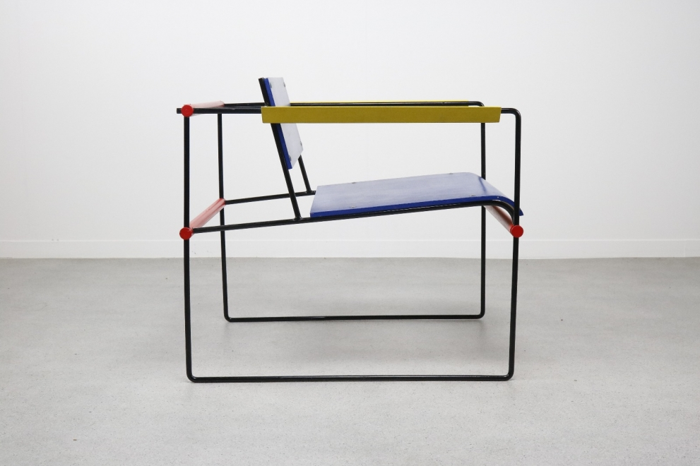 Mid century Dutch design Prototype lounge chair 1960s : 1970s - Mondriaan colours chair Cordemeyer Wim : Gerrit Rietveld 6
