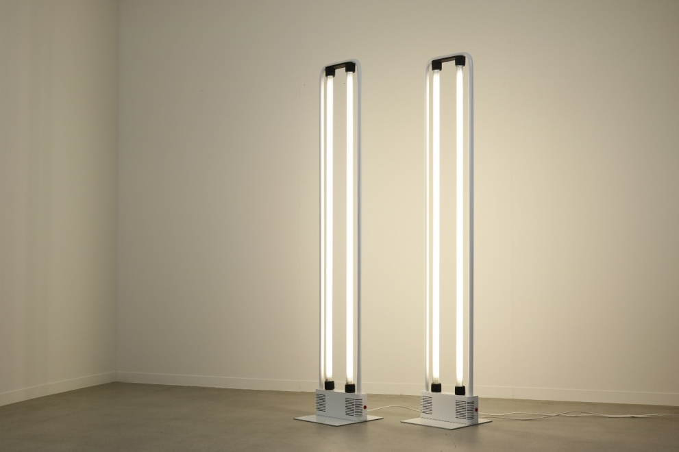 Nicola Gigante & M Boccato Post modern floor lamps by Zerbetto Padova Italy fluorescent tube light 1980s 8