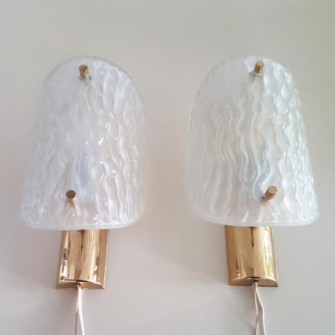 Retrospect - kaiser kalmar Hillebrand hollywood regency ice glass brass reliefglas vintage wandlamp wall light lamp sconce (1)