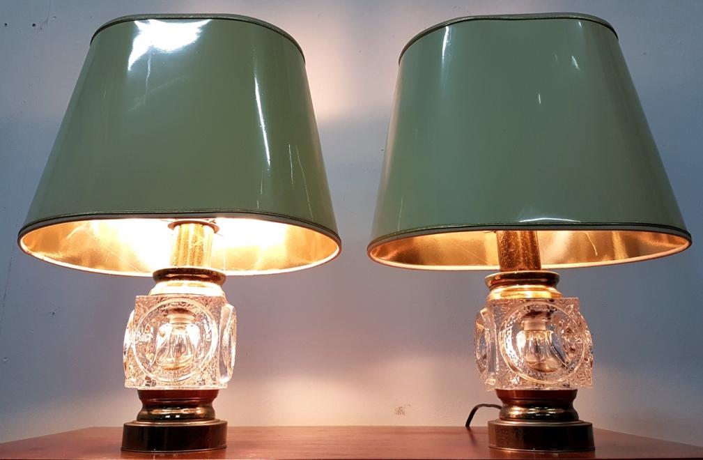 Retrospect - peill putzler regency hollywood crystal cube brass high gloss table lamp tafellamp