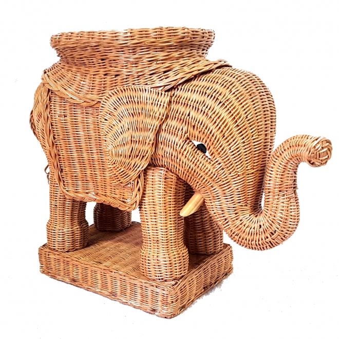 Retrospect - wicker elephant side tabel plantentafel bijzettafel rotan rattan olifant vintage shabby chic ibiza style oriental (2)